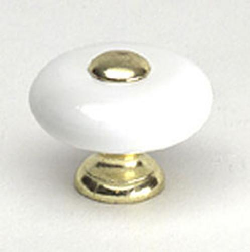 Berenson, 2560-103-P, Cabinet Knob, Bedford, Polished Brass & Ceramic
