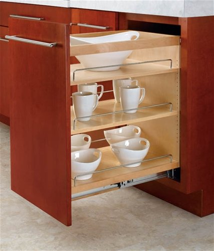 Rev-A-Shelf, 448-BC-14C, Wood Classics 3-Tier Pull-Out Shelf