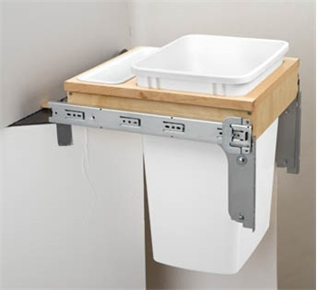 Single 35 Qt. Top Mount-Wood Reduced Depth-Waste Container White