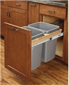 Soft Close Top Mount Pull-Out Waste Container, Two 35 Qt-Silver