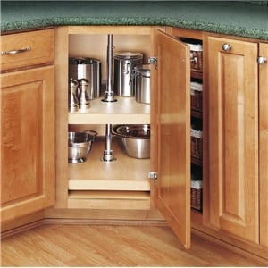 Rev-A-Shelf, 4WLS272-31-52, 31 inch D-Shaped Wood Lazy Susan 2-Shelf Set