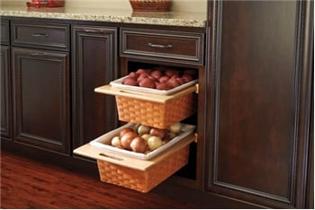 Rev-A-Shelf, 4WB-320I, 320mm (12-5/8 Inch) Rattan Basket, Rails and Liner