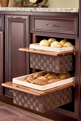 Rev-A-Shelf, 4WV-15WN, 15 Inch Wicker Basket and Liner_Walnut_Displayed
