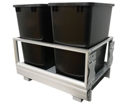 Rev-A-Shelf 5149-18DM-217-BLACK, Double 35 Quart Pull-Out Waste Container,Black