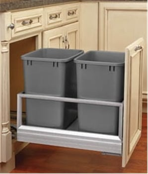Rev-A-Shelf 5149-18DM-217, Double 35 Quart Pull-Out Waste Container, Metallic Silver