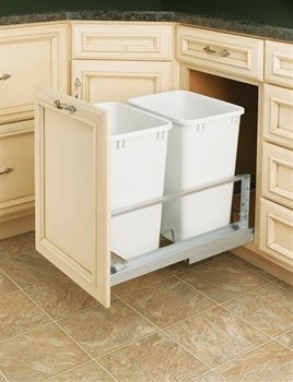 Rev-A-Shelf White Pull Out Trash Cans