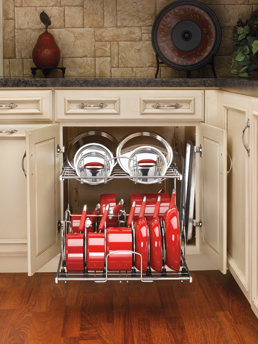 21 In Cookware Organizer Two Tier Chrome 5cw2 2122 Cr