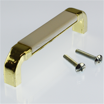 96MM Polished Brass / White Ceramic Pull
