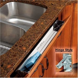 Rev-A-Shelf, 6581-22-52, 22 Inch Stainless Steel Tray, W/Hinges, Tip-Out