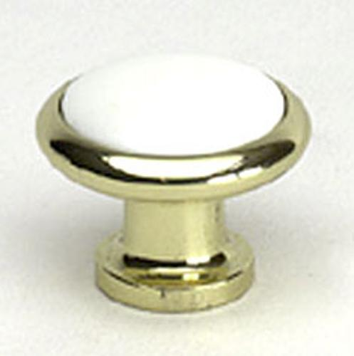 Berenson, 7333-303-P, Cabinet Knob, Manchester, Polished Brass & White