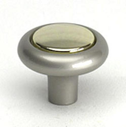 Berenson, 8935-116-C, Cabinet Knob, Miami-Manhattan, Satin Nickel and  Gold