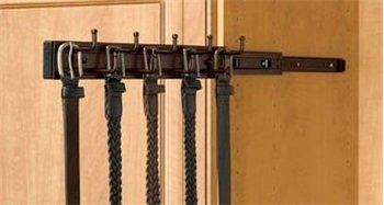Oil Rubbed Bronze Belt Rack, 14 inch, 9 hooks, side mount