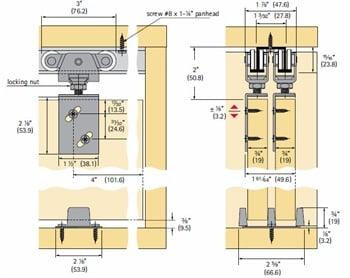Sliding Bypass Door Hardware Sets For Double Doors