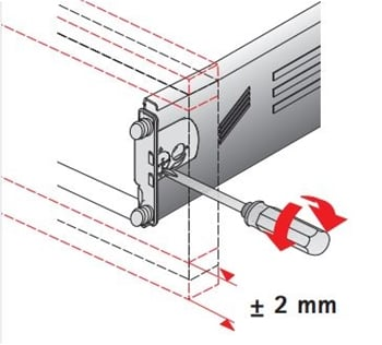 Diagram adjusting Hettich MultiTech Front Clip