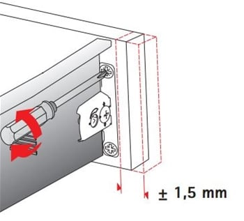 Diagram, left right adjustment of Hettich MultiTech front connector