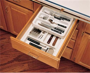 Rev-A-Shelf, RT 12-3H, Shallow Tray with Half Top Rolling Tray, White