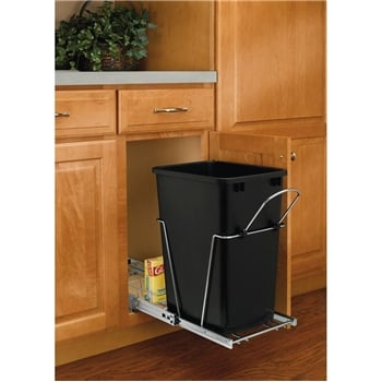 Rev-A-Shelf, RV-12KD-18CS, Pull-Out 35qt. Trash Can, Chrome/Black