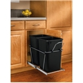 Rev-A-Shelf, RV-15KD-18CS, Pull-Out, 2-27qt. Trash Can, Chrome/Black