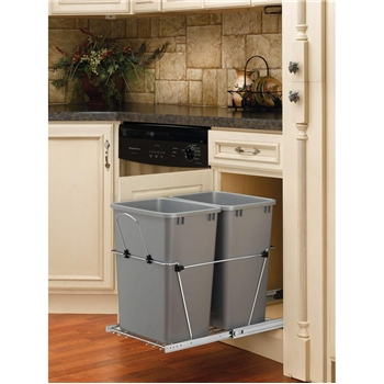 Rev-A-Shelf, RV-18KD-17CS, Pull-Out, 2-35qt. Trash Cans, Chrome/Silver