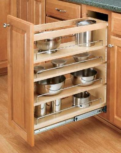 Rev-A-Shelf, 448-BC19-5C, Wood Classics 4-Tier Pull-Out Shelf