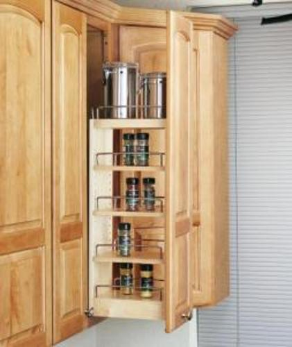 """Slide Out Spice Racks For Kitchen Cabinets: Wood Wall Cabinet Pull-Out, 8"""" Wide, 448-WC-08C"""