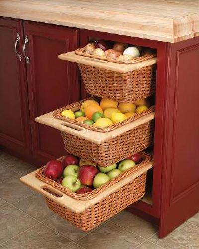 Kitchen Vegetable Storage Baskets: 18 Inch Wicker Basket And Liner, 4WB-18I