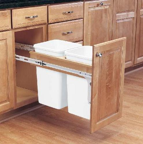 Rev-A-Shelf, 4WCTM-15DM2, Wood Classics Trash Can, Two 27 Quart