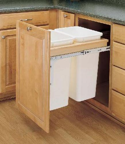 Rev-A-Shelf, 4WCTM-2150DM-2, Wood Classics Trash Can, Double 50 Quart