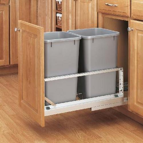 Rev-A-Shelf, 5349-1527DM-217, Double Doormount 27 Qt. Trash Can, Silver