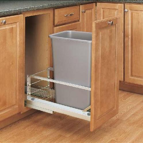 Rev-A-Shelf, 5349-1550DM-117, 50 Quart Pull-Out Trash Can, Silver