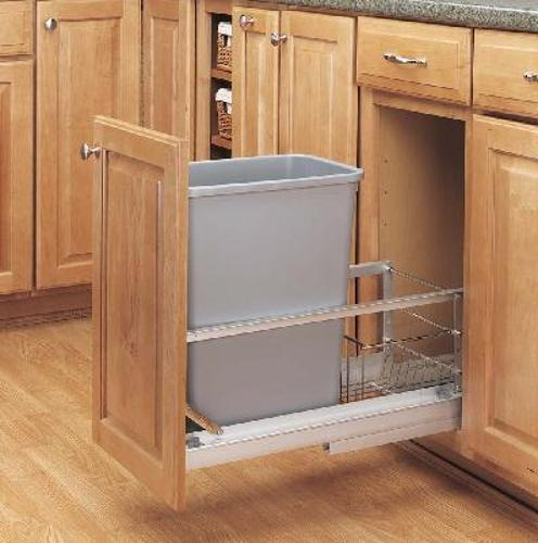 Rev-A-Shelf, 5349-15DM-117, Doormount 35 Qt. Trash Can, Metallic Silver