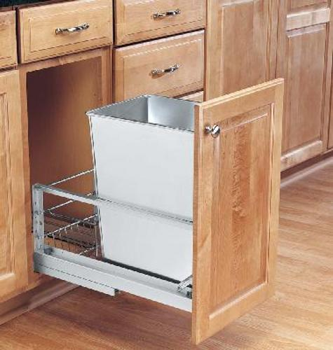 Rev-A-Shelf, 5349-15DM-1SS, 32  Quart Pull-Out Trash Can,Stainless Steel