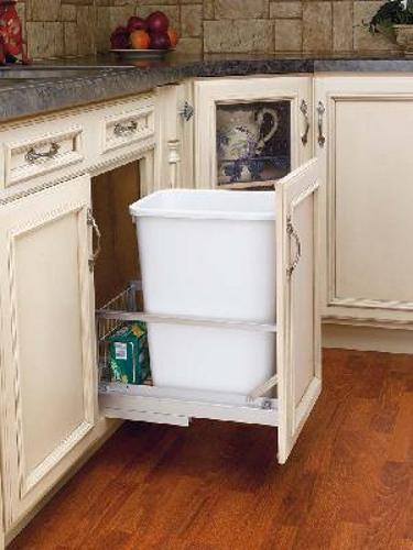 "Rev-A-Shelf, 5349-15DM18-1, Doormount 35 Qt. Trash Can (18"" deep), White"