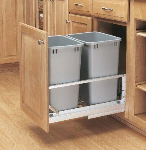 Rev-A-Shelf, 5349-18DM-217, Double Doormount 35 Qt. Trash Can, Silver