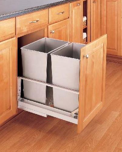 Rev-A-Shelf, 5349-18DM-2SS, 2-32 Qt. Pull-Out Trash Can,Stainless Steel