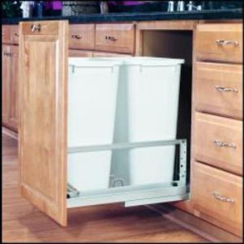 Rev-A-Shelf, 5349-2150DM-2, Double 50 Quart Pull-Out Trash Can,White