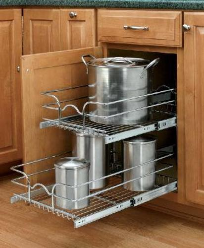 Rev-A-Shelf, 5WB2-1522-CR, 15 inch Double Pull-Out Chrome Wire Shelf