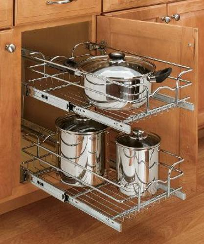 Rev-A-Shelf, 5WB2-1222-CR, 12 inch Double Pull-Out Chrome Wire Shelf