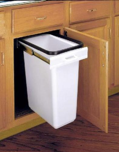 Rev-A-Shelf, EZ-300-11-52, EZ Pull-Out Trash Can, 30 Quart, White