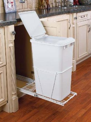 50 Qt Pull Out Trash Can W Lid White Rv 12pb 50 S