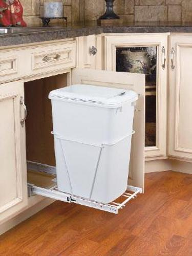 Rev-A-Shelf, RV-12PB-LE, 35 Quart Pull-Out Container, Full Extension,White