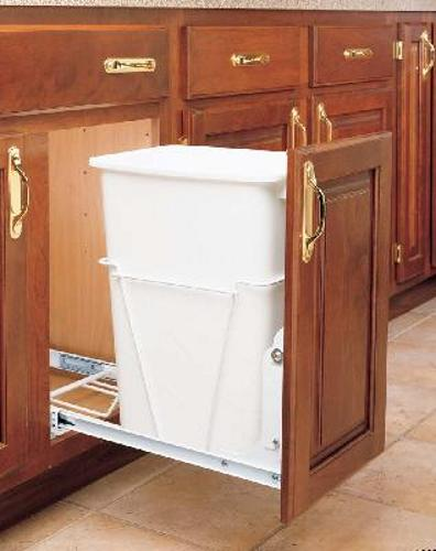Rev-A-Shelf, RV-12PB S, Pull-Out Trash Can w/FE Slides, White