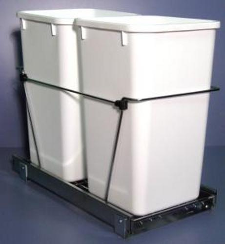 pull out 2 27qt trash can chrome white rv 15kd 2 s. Black Bedroom Furniture Sets. Home Design Ideas