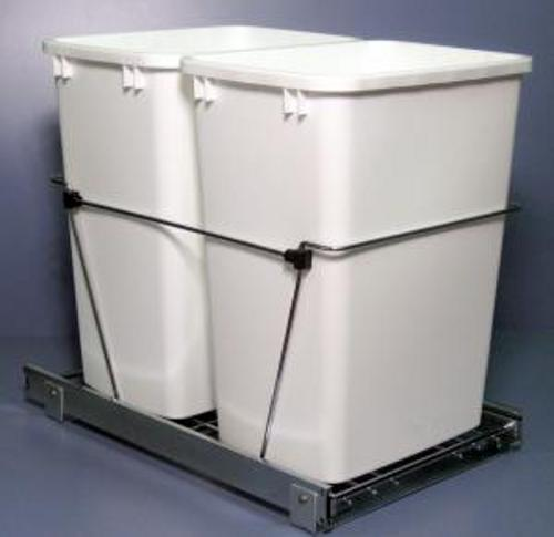 Rev-A-Shelf RV-18KD-2 S White Double Pull-Out Waste Container