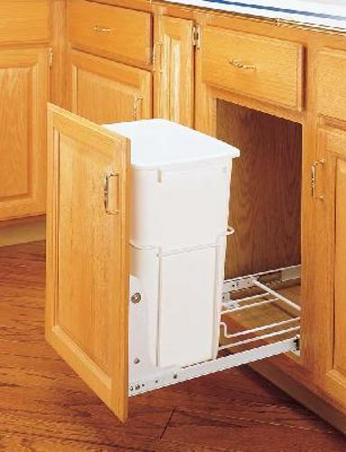 Rev-A-Shelf, RV-18PB-1, Single 35 QT Pull-Out  Trash Can, White