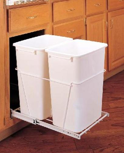 Rev-A-Shelf, RV-18PB-2 S, 2-35 Qt Trash Can w/FE Slides, White