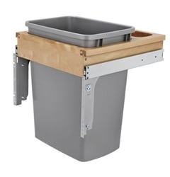 Single 35 Qt. Top Mount-Wood Reduced Depth-Waste Container Silver