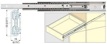"750mm (29-1/2"") Heavy Duty Stainless Steel Drawer Slide, 53 mm, 155lb."