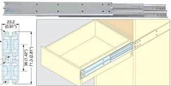 "18"" Heavy Duty Stainless Steel Drawer Slide, 53 mm, 550lb."