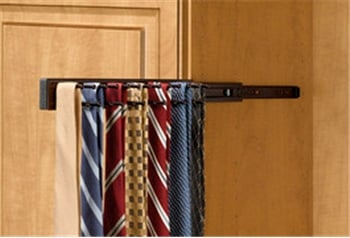 Pull Out Tie Rack, 14 inch, Oil Rubbed Bronze, holds 25 ties